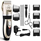Dog Clippers, OMORC Low Noise Pet Clippers Rechargeable Cordless Dog Trimmer Pet Grooming Tool Professional Dog Hair Trimmer with 6 Comb Guides scissors for Dogs Cats and Other Animals