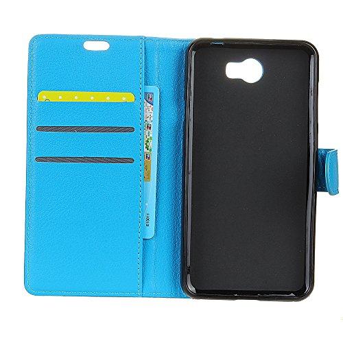 Klassische Litchi Texture PU Leder Schutzhülle Horizontale Folio Flip Stand Case Cover mit Card Slots für Huawei Y5 II [Y5 Gen 2] ( Color : White ) Blue