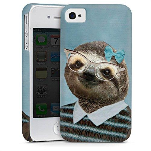 Apple iPhone 4 Housse Étui Silicone Coque Protection Paresseux Paresseux Lunettes Cas Premium mat