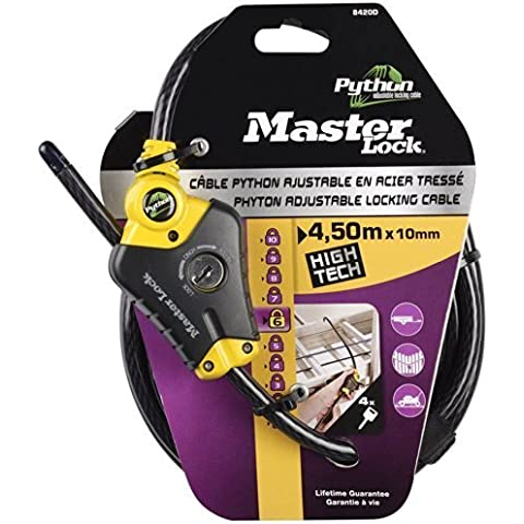 Master Lock 8420EURD - Python Cable Lock 4.5 m x 10 mm Yellow Python Lock Head with 3 Positions by Master Lock