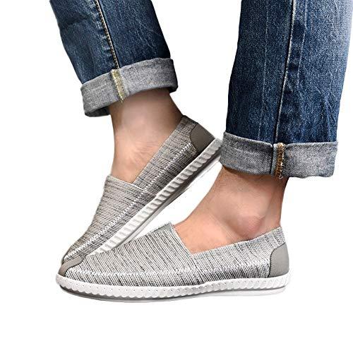 MOIKA Di Paglia Tela Uomo Scarpe Casual Traspirante Scarpe-Scarpe da Guida Comodi Appartamenti (245/40, Grigio)
