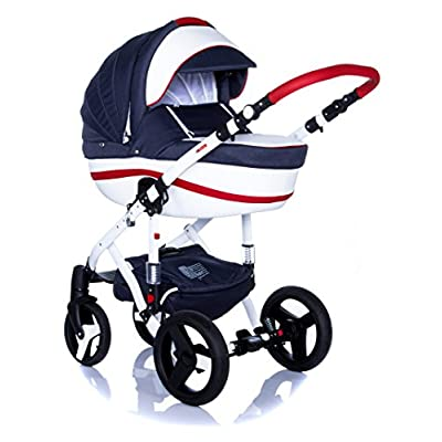 Baby Pram Pushchair Stroller Buggy Travel System Set Adamex Vicco + Baby Bag + Rain Cover + Mosquito Net + (2in1, R1 Red-Navy-Blue)