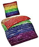 Aminata – Bettwäsche 135x200 cm Baumwolle Reißverschluss Regenbogen Chakra Bettwäsche Digitaldruck Fotodruck 3D Effekt Rot Grün Blau Gelb Orange 2-teiliges Bettwäscheset Gay Bettwäsche