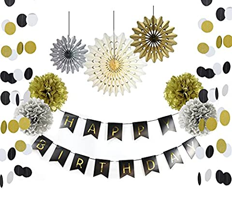 SUNBEAUTY 10er Geburtstag Dekoration Set Happy Birthday Girlande Seidenpapier Pompoms Gold Silber Fächer für 30. Geburtstag 50. Geburstagsparty Gold Schwarz Silber Deko (10er Set)