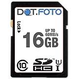 Dot.Foto 16Gb SDHC Alta Velocidad 60MB/s Clase 10 UHS-1 Tarjeta de Memoria para Nikon DSLR cámaras [Vea compatibilidad en la descripción]