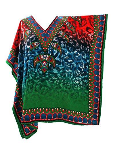 Mia Creations Tribal Print Short Kaftan Tunic Blouse Top Plus Size (Red-Green-Blue)