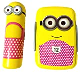 DS Minion Lunch Box with Pencil Box, Yellow & Pink