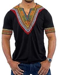 Yying Été T-Shirts Homme Hip Hop Africain V Cou Allongé à la Palangre Coton T-Shirt
