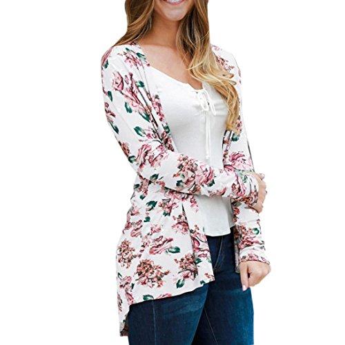 Xmansky Blumen Spitze Beiläufig Mantel Bluse Kimono Jacke Strickjacke (M, Weiß) (Dye Pastell-tie)