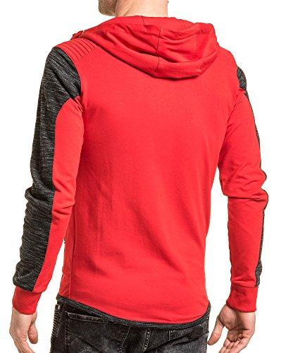 BLZ jeans - Veste homme zippée à capuche rouge chiné Rouge
