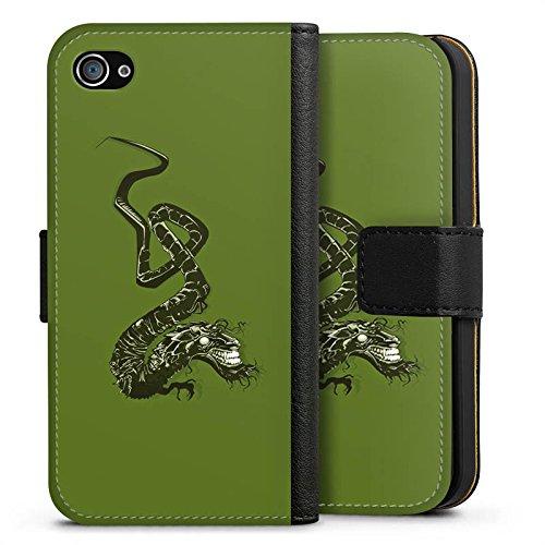 Apple iPhone X Silikon Hülle Case Schutzhülle Drache Tribal Chinesisch Sideflip Tasche schwarz