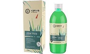 Kapiva 100% Natural Aloe Vera Juice (with Pulp), Herbal Skin Cleanser - No Added Sugar, 1L