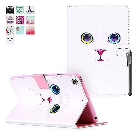 iPad Mini 3 Case, iPad Mini 3 Cover, DEENOR White cat face Pattern PU Leather Cover Stand Flip Case Cover for Apple iPad Mini 1/2/3 Generation. (White cat face)