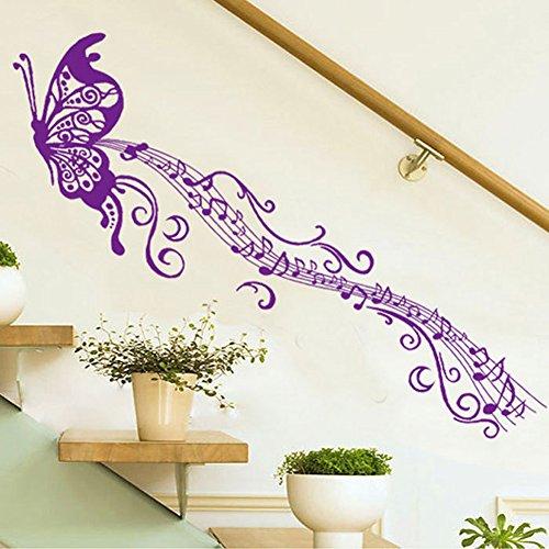 Wallpark Violet Papillon Romantique Notes de Musique Amovible Stickers Muraux Autocollants, Salon Chambre Maison DIY Décoratif Adhésif Stickers Mural