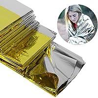 Ballylelly Manta de Emergencia Multifuncional portátil Salvavidas Aislamiento térmico Manta de protección Solar Oro Plata Doble Color