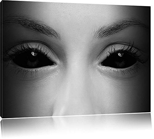 Böse Dämonenaugen B&W Detail, Format: 80x60 auf Leinwand, XXL riesige Bilder fertig gerahmt mit Keilrahmen, Kunstdruck auf Wandbild mit Rahmen, günstiger als Gemälde oder Ölbild, kein Poster oder - Vampir-gesicht Halloween-gemälde