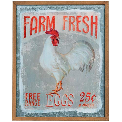 NIKKY HOME Farm Fresh Eier Vintage Metall Wandschild Schild Farmhouse Home Decor 41x 2,3x 51cm