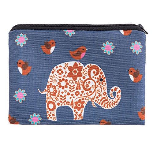 Kukubird Floreale Tribale Elephant Design Print Zip Semplice Make-up Bag Matita Caso Tribal Elephant Grey