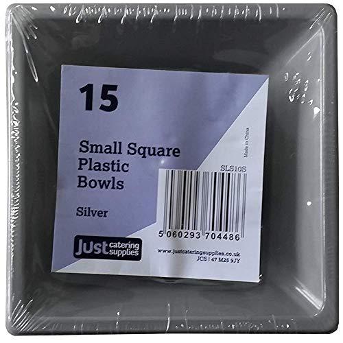 Quadratische Teller und Schalen aus Kunststoff, silber, 4.75