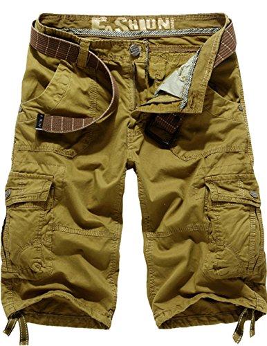 Cukke Herren Vintage Cargo Shorts Bermuda Kurze Hose Sommer Kurze Hose 6849 Gelb