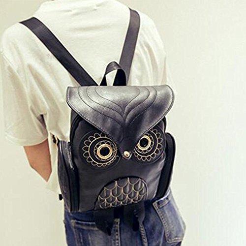 Cuoio Dellunità Di Elaborazione Del Gufo Del Fumetto Di Modo Di Figura Zaino Della Ragazza Mini Bag Nero