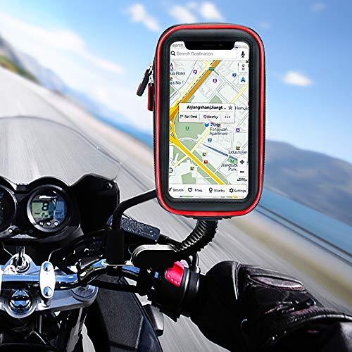 solawill Motorrad Handyhalterung Wasserdicht Motorrad Halterung 360°drehbar PVC Touch-Screen Schutzhülle Tasche für iPhone XS/X, iPhone 8/7 Plus, Galaxy S9/S8 etc Smartphones bis 5,8 Zoll