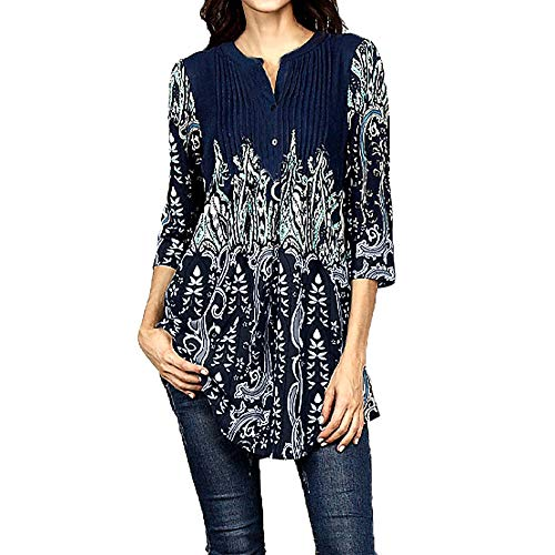 0501e968e87 Women's Tops, Casual 3/4 Sleeve Floral Print Loose Tunic Long Blouse and  Tops
