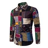 Allthemen Mens Dress Shirts Long Sleeve Funky Printed Linen Shirt Casual Shirt Fancy