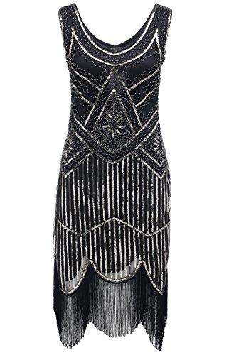 BABEYOND Frauen Art Deco V-Ausschnitt 20s Gatsby Fringed Sequin Flapper Kleid (Etikette L/ UK16/ EU44, Schwarz und (Flapper Schwarzes)