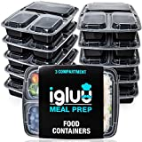[10 Pack] 3 Compartment BPAFree Reusable Meal Prep Containers | Plastic Food Storage Trays with Airtight Lids | Microwavable, Freezer and Dishwasher Safe | Stackable Bento Lunch Boxes | Bonus eBook