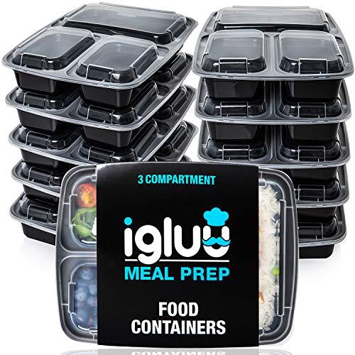 3scomparti pasto Prep contenitori per alimenti Bento Lunch Box con coperchio, utilizzabile nel microonde e lavabile in lavastoviglie, riutilizzabile e impilabili (Confezione da 10)