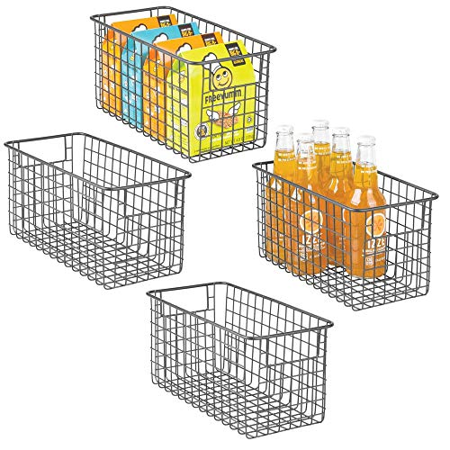 mDesign 4er-Set Allzweckkorb aus Metalldraht - flexibler Aufbewahrungskorb für die Küche, Vorratskammer etc. - kompakter und universeller Drahtkorb mit Griffen - grau -