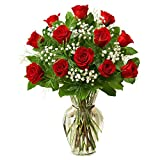 Giftacrossindia Twelve Classic Red Roses in Glass Vase