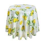 Provence- Tischdecke Citron, Zitronen, rund, ca. 160 cm, Pflegeleicht von Provencestoffe