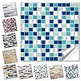 Wandaro 1 Stück Fliesenaufkleber 25,3 x 25,3 cm blau türkis Silber Design 20 I 3D Aufkleber Fliesenfolie Mosaik Bad Küche W3467