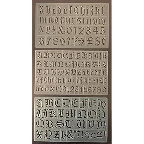Set di 3 lettere dell'alfabeto per stencil, stile Old English, 20/30 mm, P1605 P1610 e P1596 - Stile Delle Lettere Set