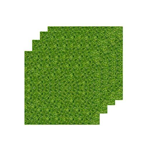 VORCOOL 4 Pcs Künstliche Rasen Gras Miniatur Garten Verzierung Kunstrasen 15x15 CM Simulation Gras Rasen DIY Puppenhaus Garten Ornament (Grün)