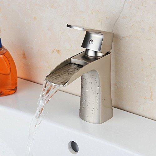 Hiendure® Latón montadas en cubierta cascada grifo del fregadero baño cocina monomando , Níquel cepillado