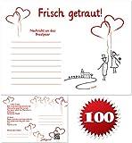 galleryy.net 100 Ballonflugkarten zur Hochzeit Gelocht, Portofrei Möglich, Flugkarten für Hochzeitsballons im Set Zum Hochzeitsspiel im Ballonflugkartenset - Hochzeit Luftballon-Hochzeitspaar