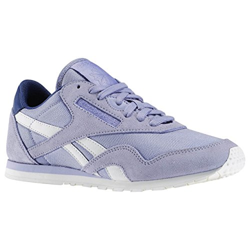 Reebok Cl Nylon Slim Core, Scarpe da Corsa Donna Multicolore (Morado / Azul / Blanco (Moon Violet / Midnight Blue / Chalk))