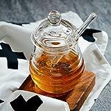 TAMUME Ruche Style Verre Pot à Miel Conteneur Verre avec Cuillère à Miel Pour Servir du Miel et du Sirop