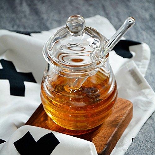 Image of TAMUME Bienenstock Stil Glas Honigbehälter mit Glas Honig Löffel Zum Servieren von Honig und Sirup