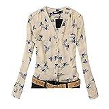 Amlaiworld Sweatshirts Chiffon Sommer Blumen Vogel drucken Bluse Damen Strand V-Ausschnitt Shirt Basic elegant Tops locker Frühling Oberteile (M, Beige)