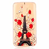 MUTOUREN LG K7 case cover Soft Silicone Bumper Ultra Thin Slim Flexible Cover Case ,High Quality TPU with Colorful Cute Printed Pattern Fashion Design Protective Back Rubber Shell Perfect Fitted Edge-Black high tower red flowers