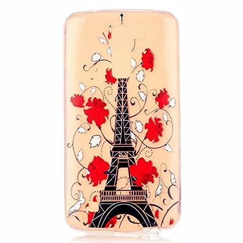 MOTOUREN Coque Pour LG K7 Crystal Case Ultra Mince Protection en TPU Silicone Clair transparente Housse Etui Coque - Tour et fleur