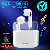 Kindak Inalámbricos Auriculares Bluetooth,Wireless In-Ear Cascos Earbuds con Micrófonos Manos Libres Headset, Mini Headphone Earpods Compatible Apple iOS Android Samsung iPhone X 6 7 8S (Blanco)