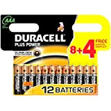 Duracell Plus Power DUR018938 AAA Batteries Pack of 8 + 4 Free - 12 Batteries