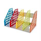 Bandeja de almacenamiento de 4 separadores de colores para revistas, archivadores, archivadores, archivadores, archivadores, archivadores, soporte de escritorio, libros y extremos de diccionario de CD, color 4 section Vertical