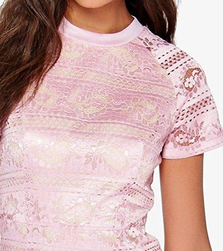 erdbeerloft - Damen Kurzes Kurzarm Kleid in Spitzenoptik, 34-40, Viele Farben Rosa