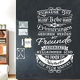 Wandaro Wandtattoo Spruch Zuhause ist wo die Liebe wohnt I dunkelgrau (BxH) 53 x 90 cm I Wohnzimmer Wandsticker Wandaufkleber Aufkleber Zitat Flur Sticker W3433